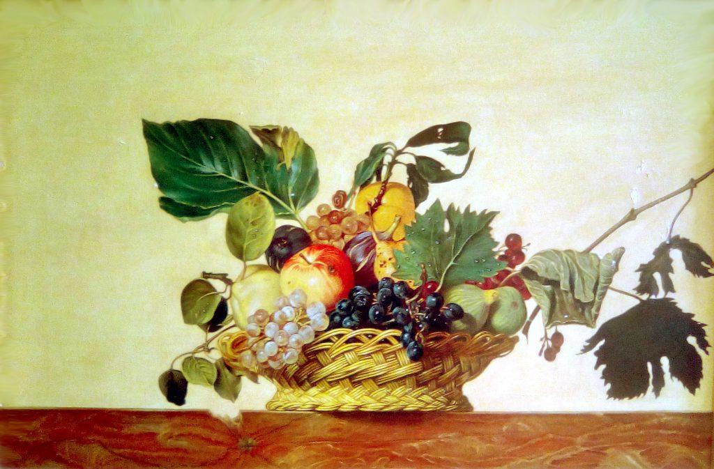 """Copia quadro d'autore di """"Canestra di frutta"""" originale di Caravaggio (Michelangelo Merisi)"""