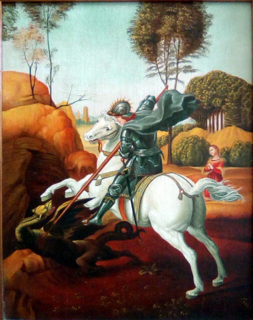 Copia quadro d'autore San Giorgio e il drago di Raffaello