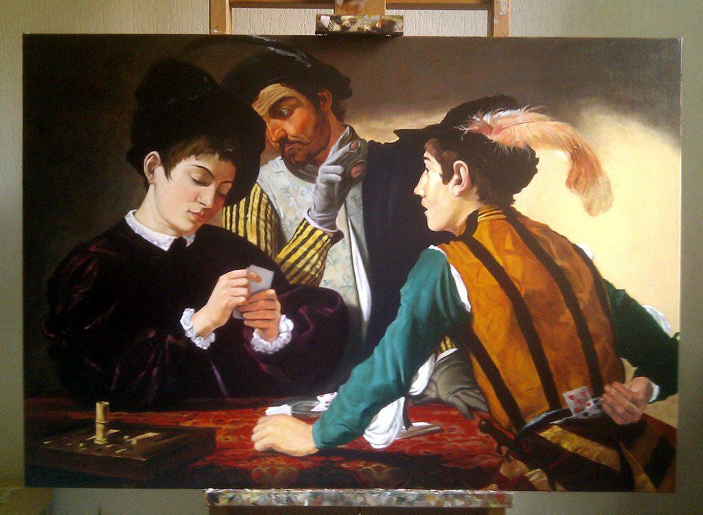 """Dipinto copia quadro d'autore de """"I Bari"""" di Caravaggio"""